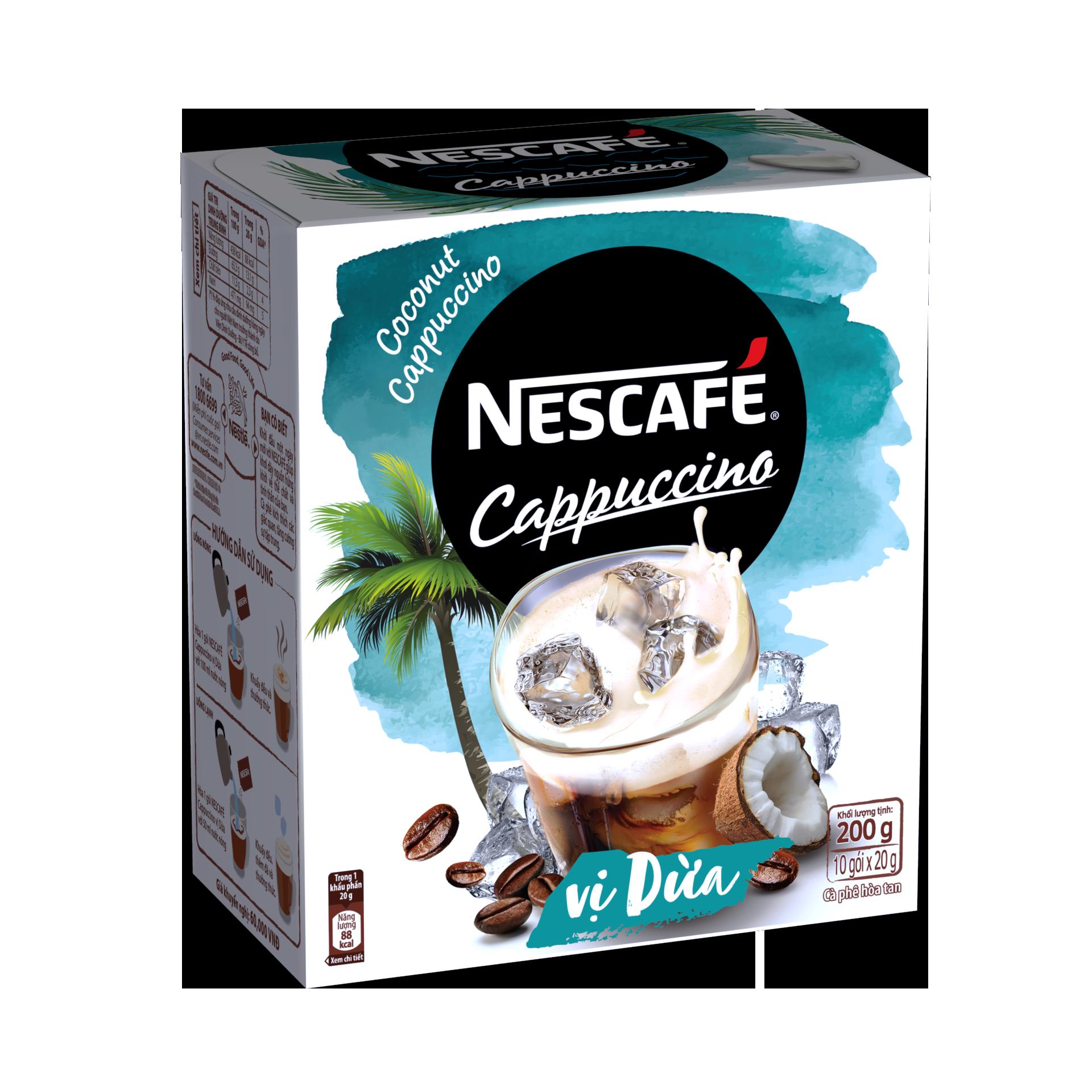 Cà Phê Hòa Tan Nescafé Cappuccino Vị Dừa Hộp 10 gói x 20g