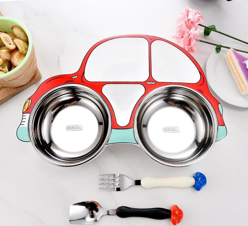 Set khay ăn 3 món Inox hình ô tô cho bé Royal care RC-2020-0805B (Đỏ)