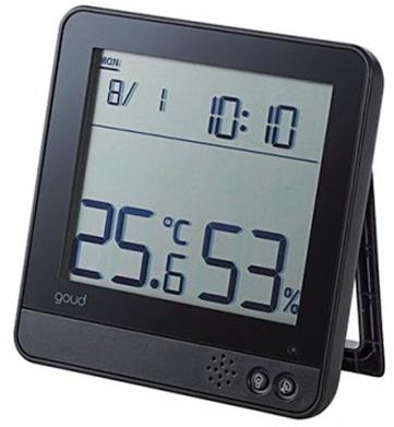 Đồng hồ có báo thức, đo ẩm kế và nhiệt độ ELECOM OND-02BK