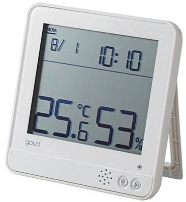 Đồng hồ có báo thức, đo ẩm kế và nhiệt độ ELECOM OND-02WH