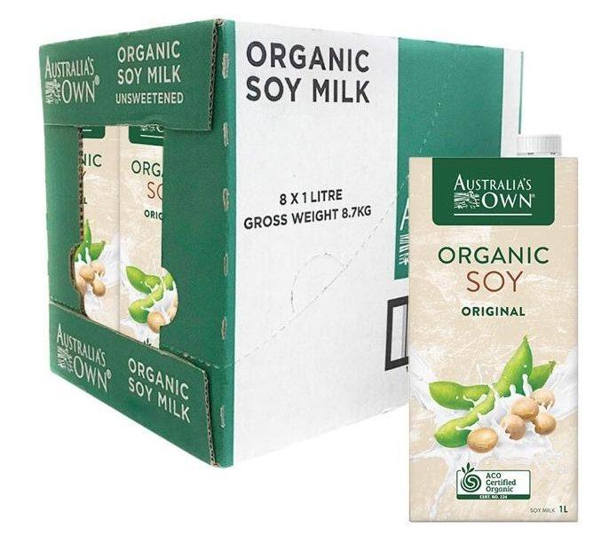 Thùng 8 Australia's Own Sữa đậu nành Không Đường Organic 1L
