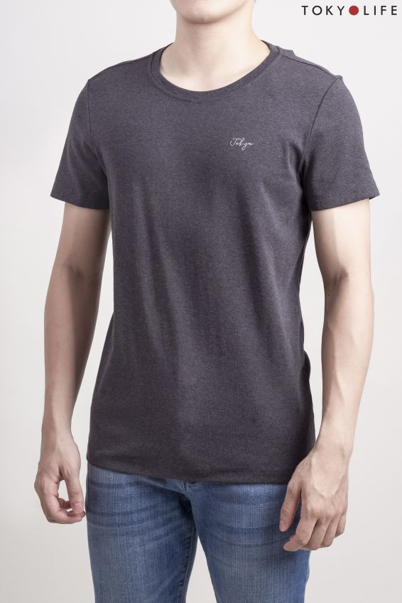 Áo T-Shirt Nam cổ tròn ngắn tay TOKYOLIFE I7TSH001G (XL, Ghi đậm)