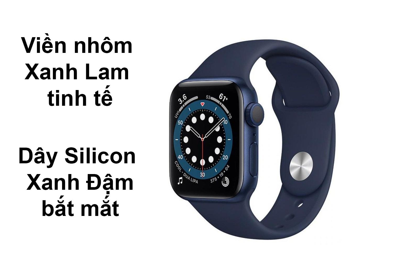Apple Watch Series 6 GPS 44mm viền nhôm Xanh Lam dây Silicon Xanh Đậm