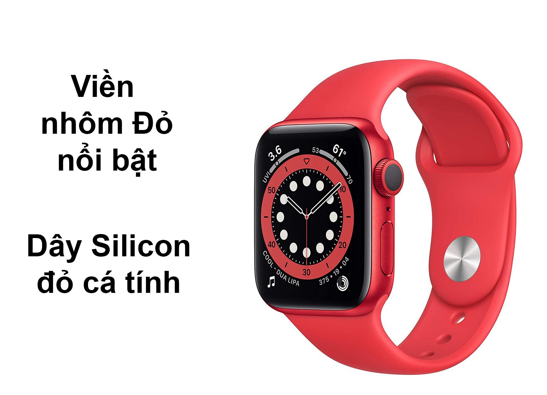 Apple Watch Series 6 GPS 40mm viền nhôm Đỏ dây Silicon Đỏ