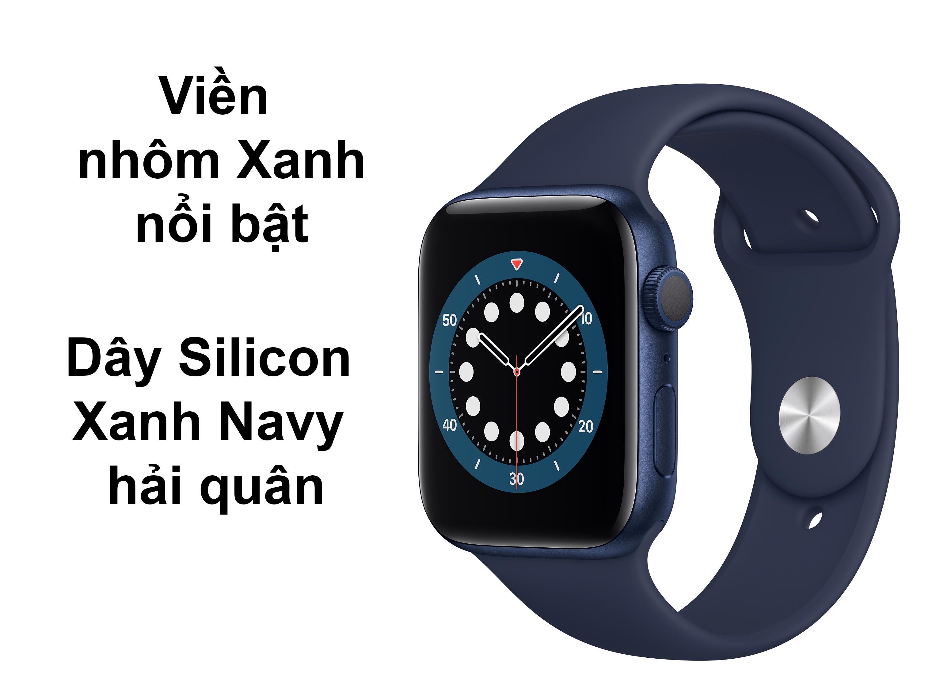Apple Watch Series 6 GPS + 4G 44mm viền nhôm Xanh dây Silicon Xanh Navy