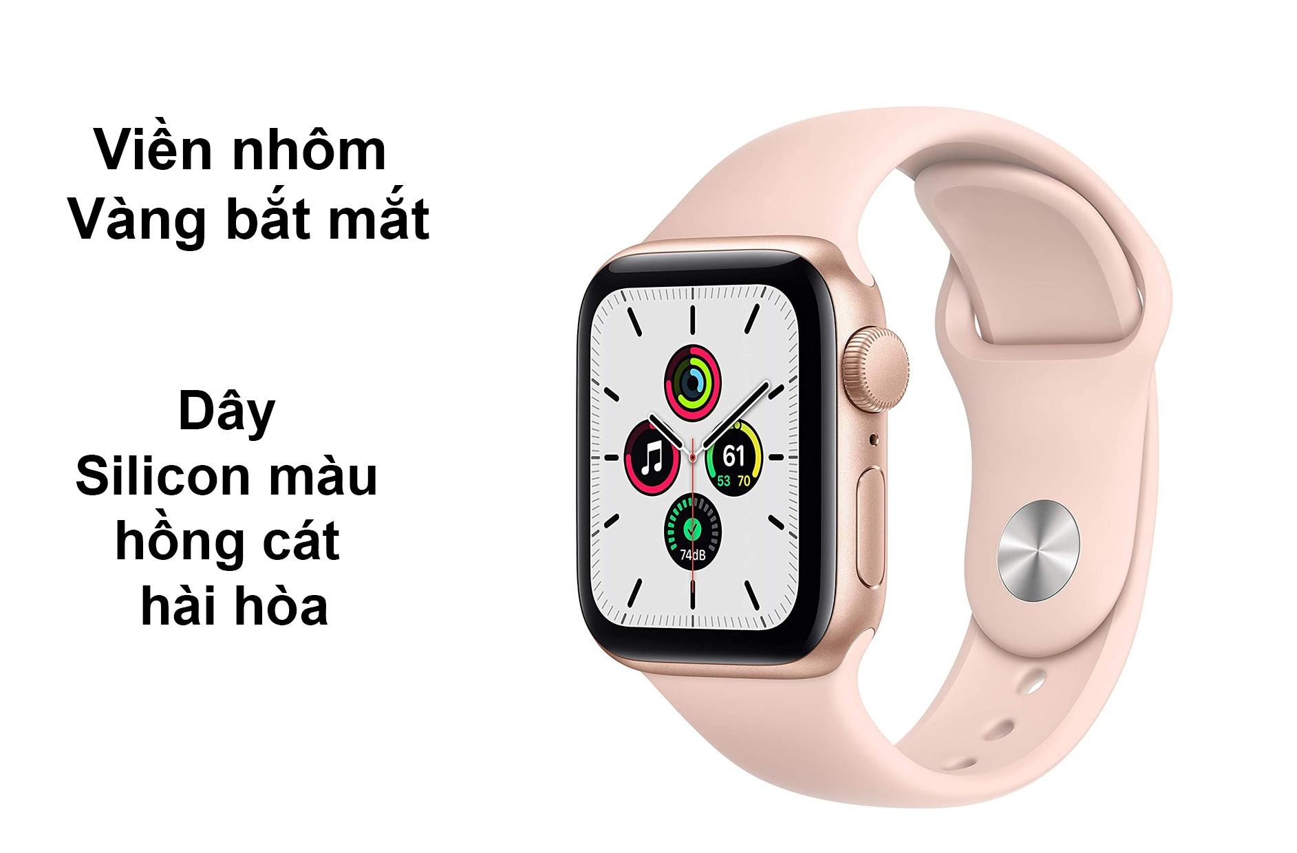 Apple Watch Series 6 GPS 40mm viền nhôm Vàng dây Silicon Hồng Cát