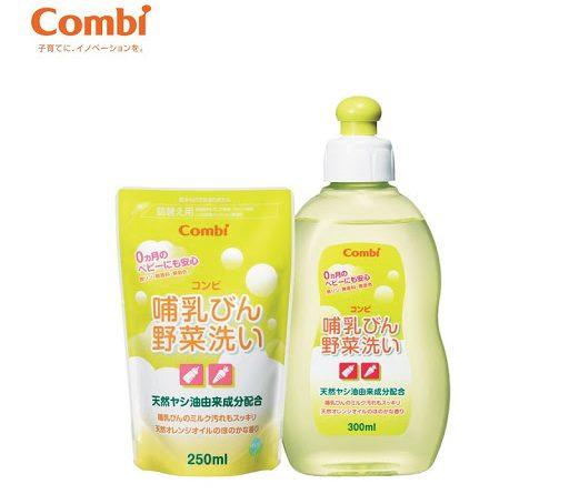 Combo chai rửa bình sữa và rau quả từ dầu cọ Combi 300ml và túi dung dịch rửa bình Combi 250ml_1