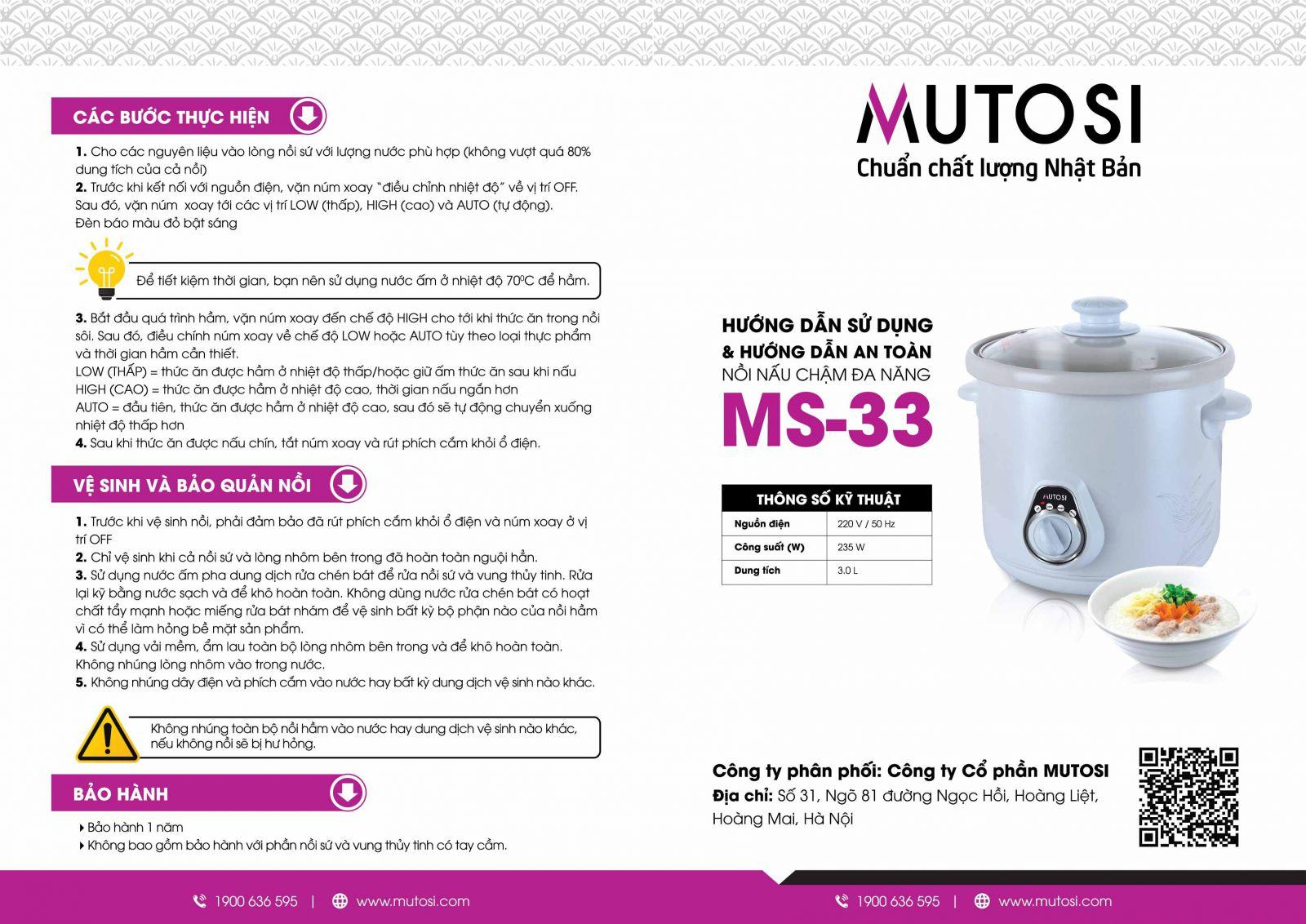 Nồi nấu chậm Mutosi 3.5L MS-33_5