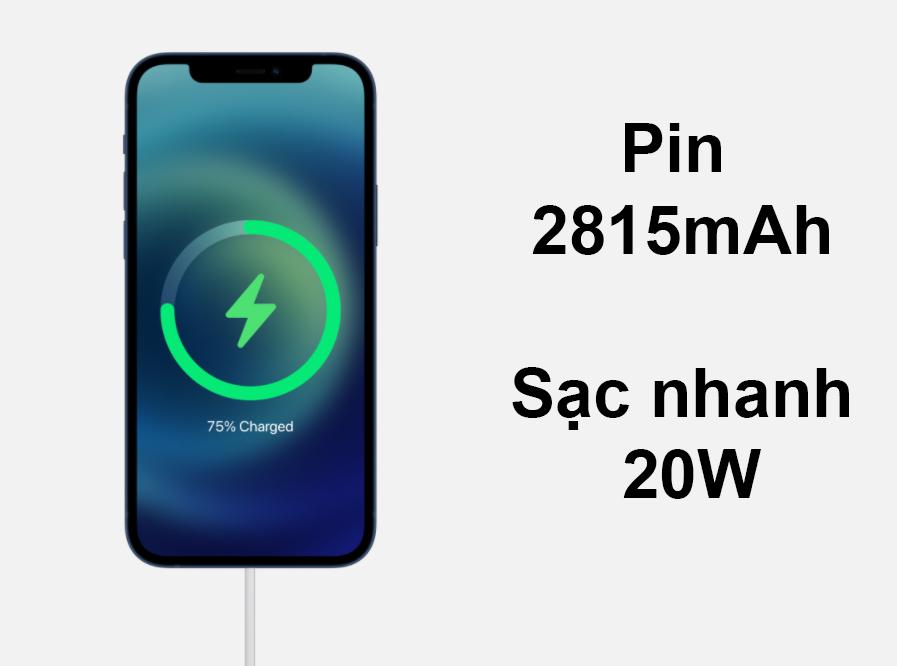 iPhone 12 Mini 128 GB | Pin 2815mAh sạc nhanh 20W