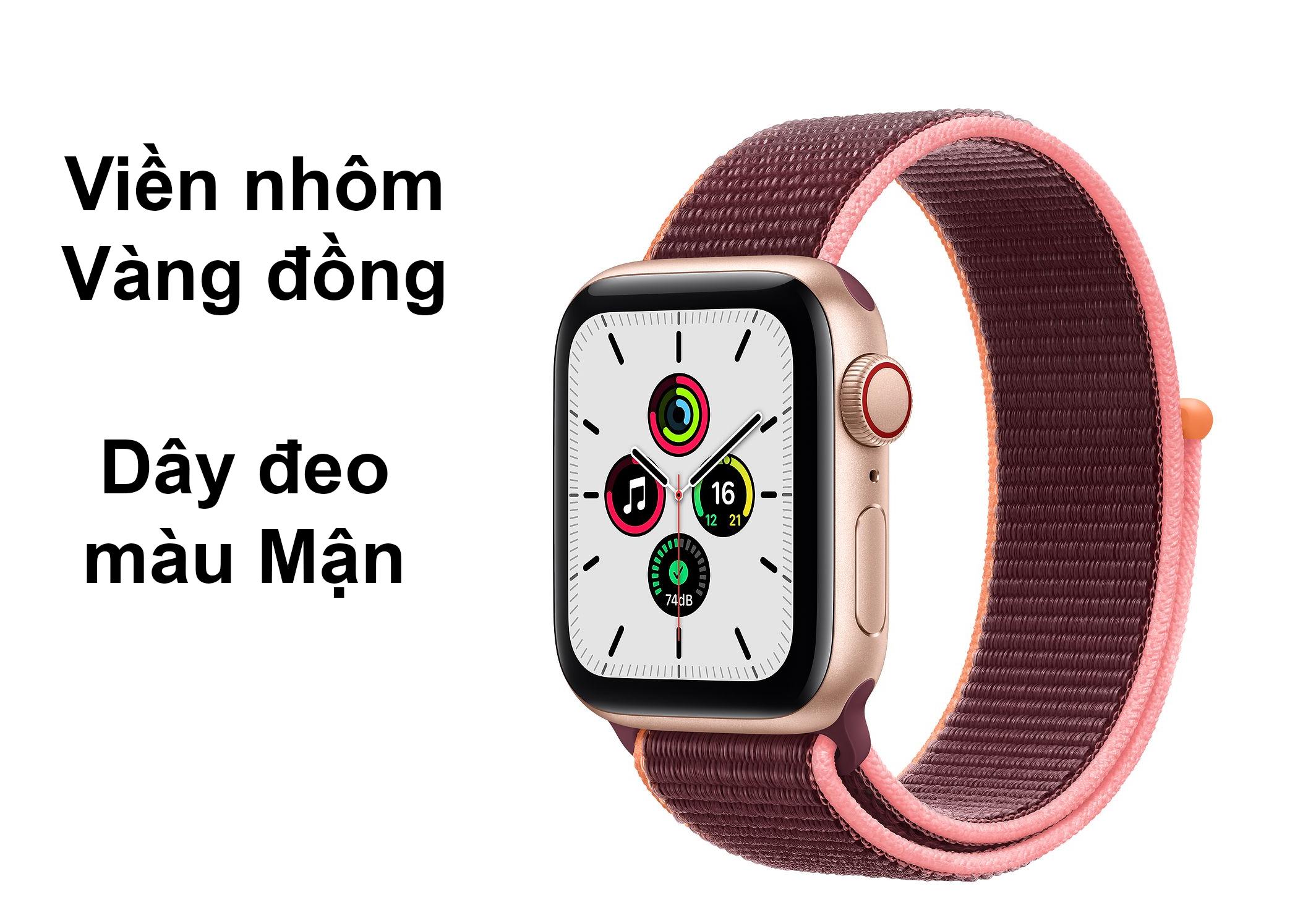 Apple Watch Series SE GPS + 4G 44mm viền nhôm Vàng Đồng dâymàu Mận nổi bật