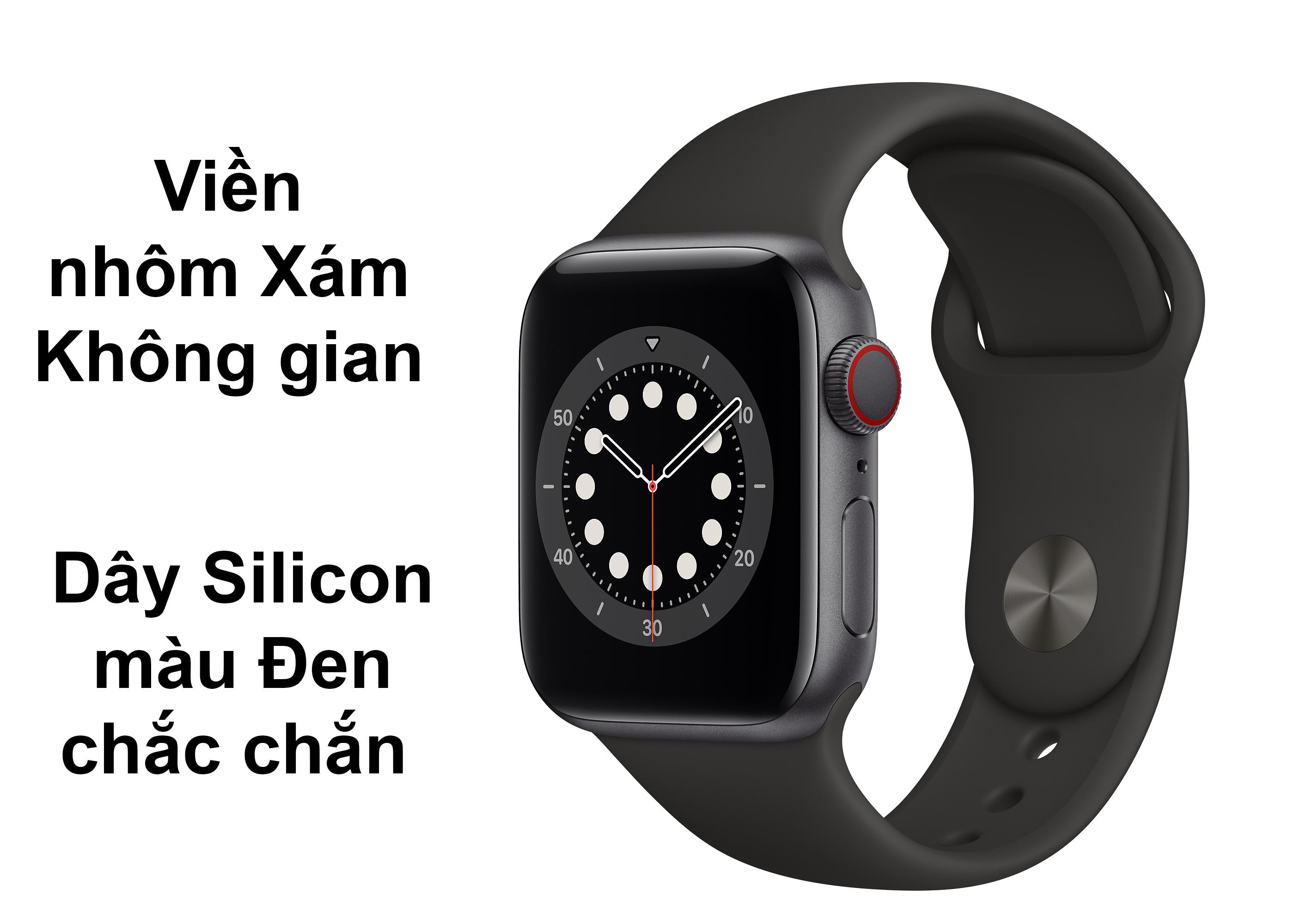 Apple Watch Series SE GPS + 4G 44mm viền nhôm Xám Không gian dâySilicon màu Đen
