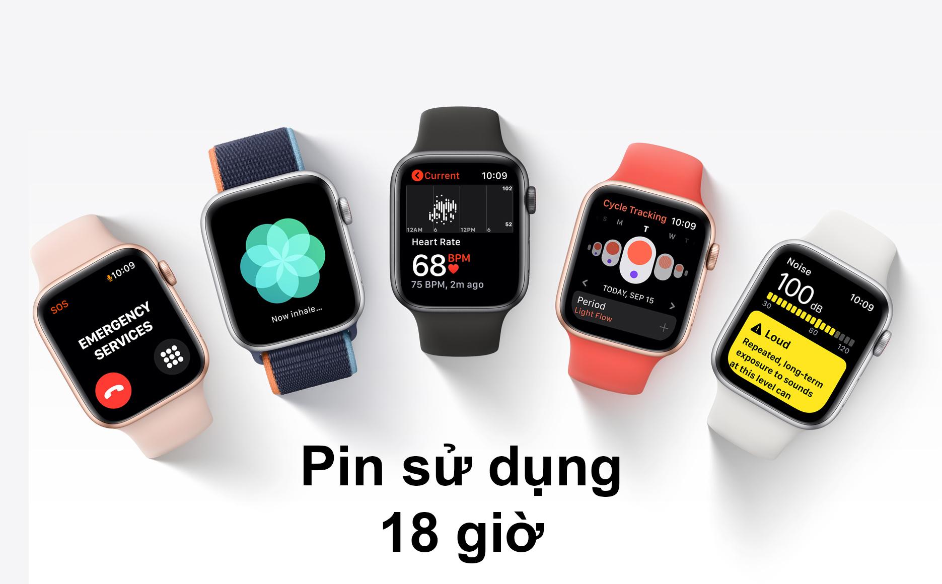 Apple Watch Series SE GPS + 4G 44mm | Pin sử dụng 18 giờ