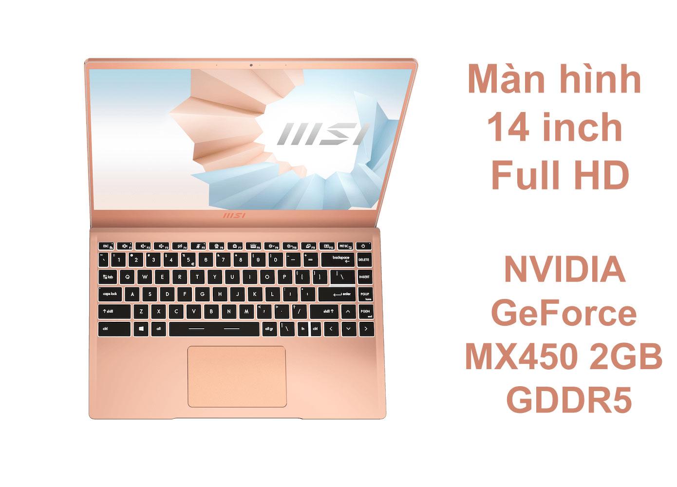 Laptop MSI Modern 14 B11SB-075VN màu Vàng Hồng | Màn hình 14 inch | Card đồ họa rời