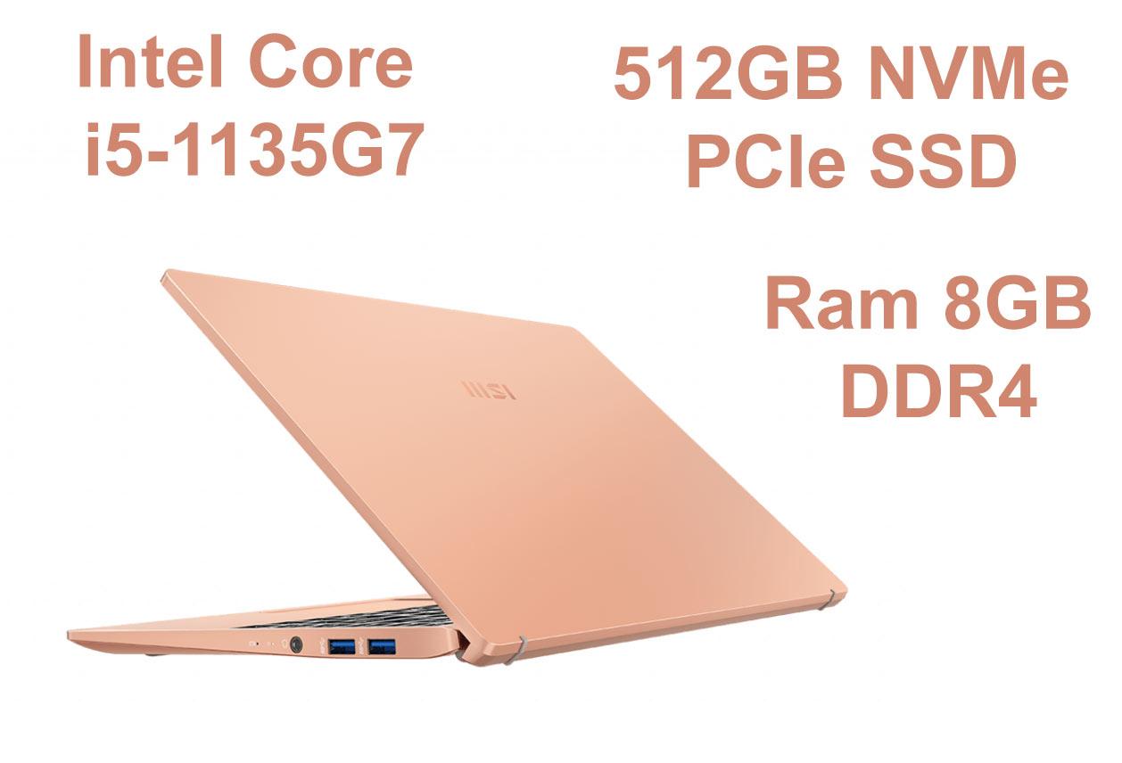 Laptop MSI Modern 14 B11SB-075VN màu Vàng Hồng | Hiệu năng mạnh mẽ