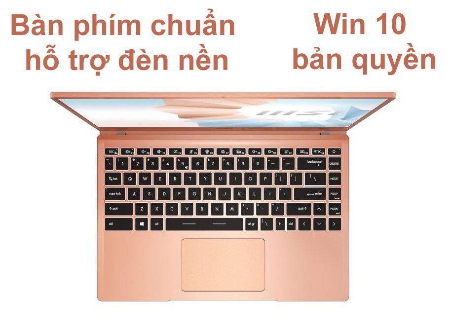 Laptop MSI Modern 14 B11SB-075VN màu Vàng Hồng | Bàn phím chuẩn | Win 10 bản quyền