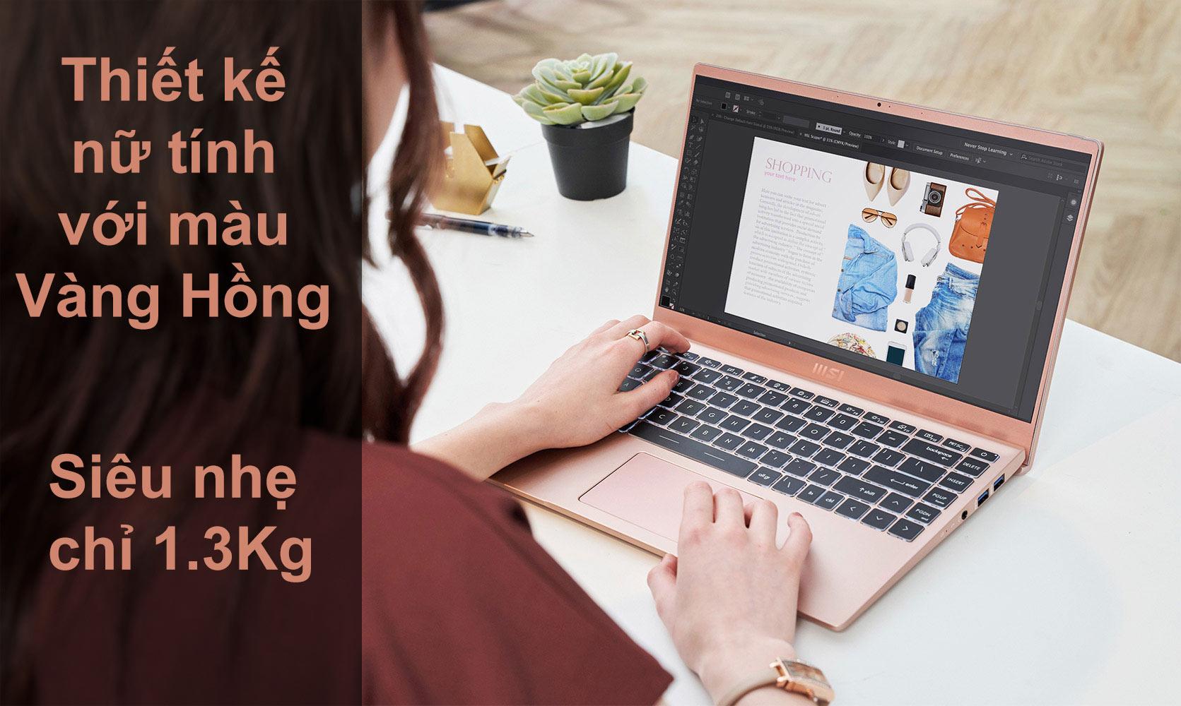 Laptop MSI Modern 14 B11SB-075VN màu Vàng Hồng | Màu sắc nữ tính | Siêu nhẹ