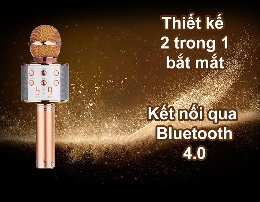 Mic Karaoke WSTER WS 858 | Thiết kế 2 trong 1