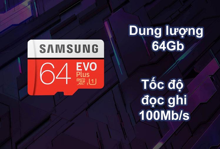 Thẻ nhớ Micro SDXC Samsung 64GB EVO Plus 2020   Dung Lượng 64Gb   Tốc độ 100Mb/s