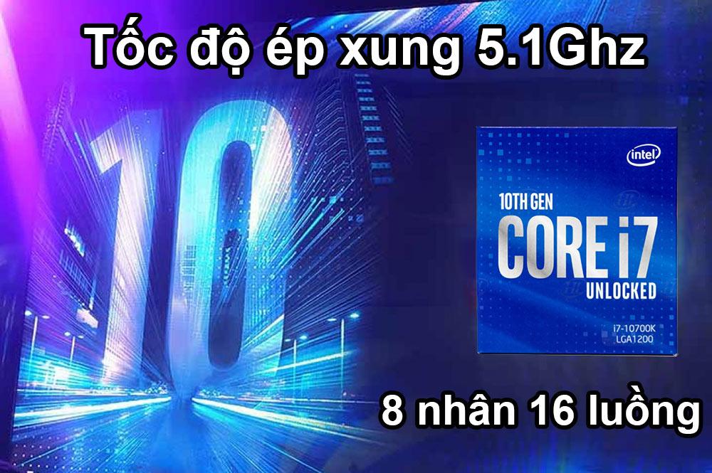 CPU Intel Comet Lake Core i7-10700K | Tốc độ ép xung 5.1Ghz
