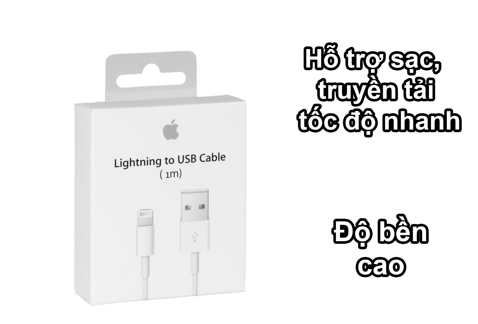 Cáp sạc Apple Lightning To Usb 1 mét | Hỗ trợ sạc nhanh độ bền cao