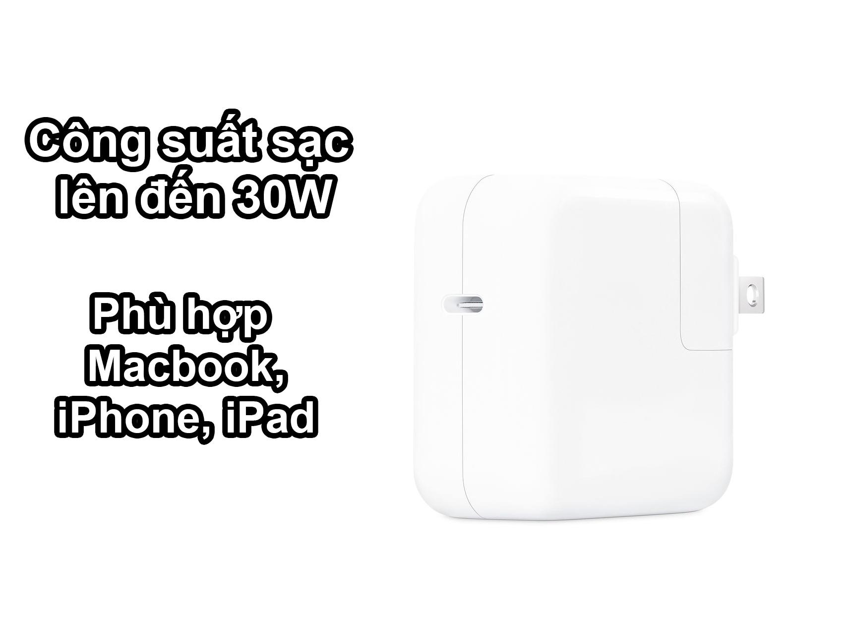 Sạc Apple 30W USB-C Power | Công suất 30W, phù hợp nhiều thiết bị