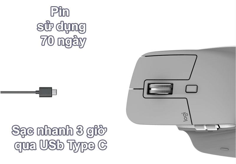 Chuột không dây Logitech MX Master 3 (Đen) | Pin sử dụng 70 ngày
