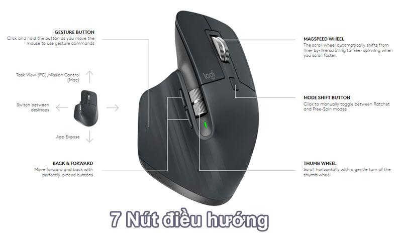 Chuột không dây Logitech MX Master 3 (Đen) | 7 Nút điều hướng