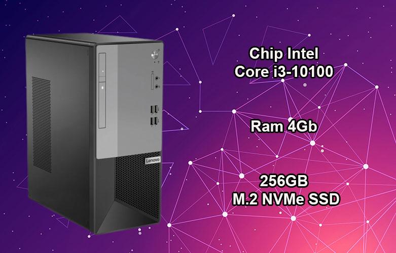 PC Lenovo V53t-13IMB | Chip Intel Core i3-10100, Ram 4GB, bộ nhớ trong 256GB M.2 NVMe SSD