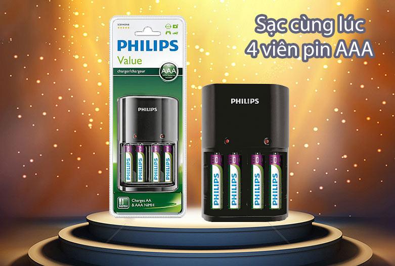 Bộ sạc pin Philips 200 mAh SCB1450NB/12 | Sạc 4 viên pin AAA cùng lúc