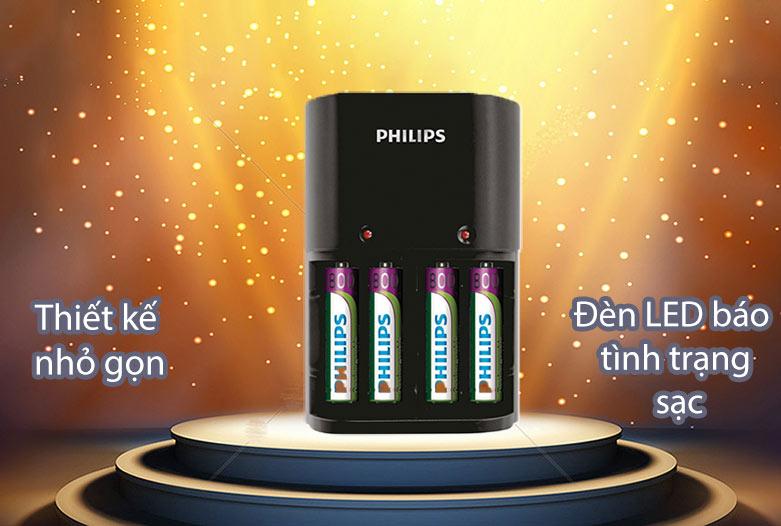 Bộ sạc pin Philips 200 mAh SCB1450NB/12 | Đèn LED báo tình trạng pin