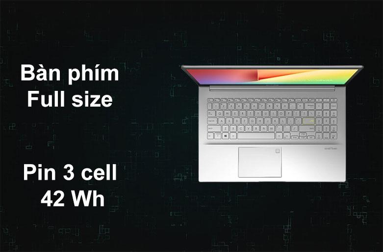 Laptop Asus Vivobook A515EA-BQ498T   Bàn phím Full size, Pin 3 cell 42 Wh