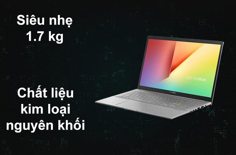 Laptop Asus Vivobook A515EA-BQ498T   Trọng lượng nhẹ 1,7 kg, Chất liệu kim loại khối