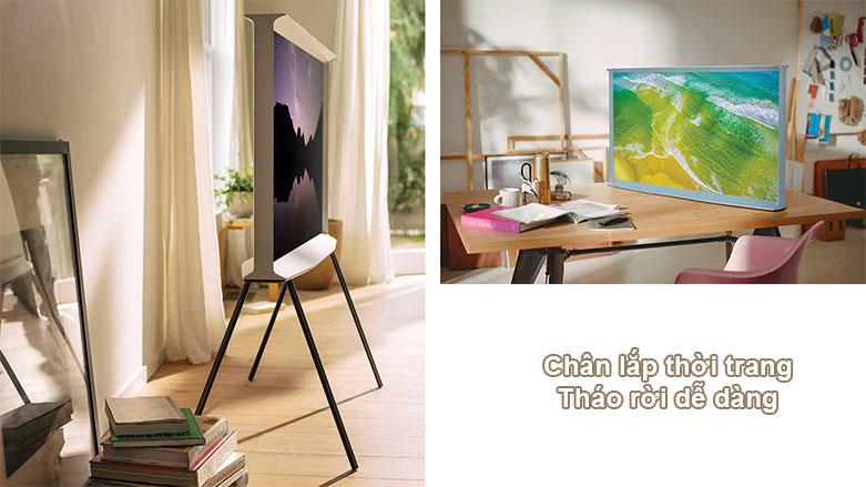 Tivi Qled The Frame Samsung 4K 55 inch QA55LS01T | Chân lắp thời trang, thóa rời dễ dàng