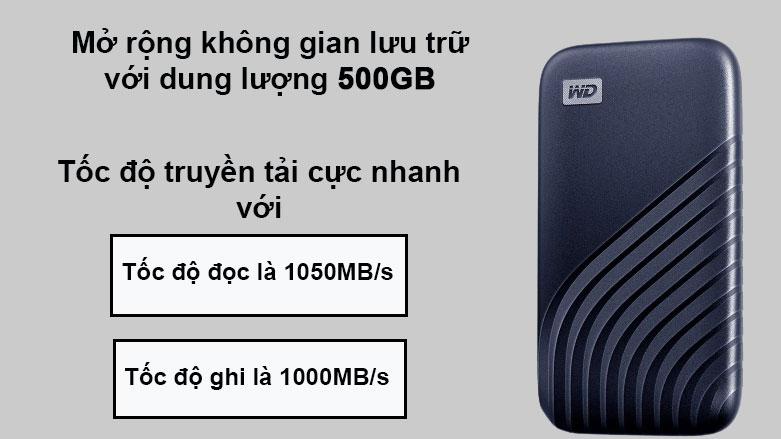 Ổ cứng gắn ngoài SSD WD My Passport 500GB USB 3.2 Gen2 Blue | Mở rộng không gian lưu trữ, Tốc độ truyền tải nhanh chóng