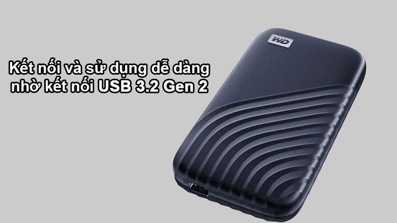 Ổ cứng gắn ngoài SSD WD My Passport 500GB USB 3.2 Gen2 Blue | Kết nối và sử dụng dễ dàng