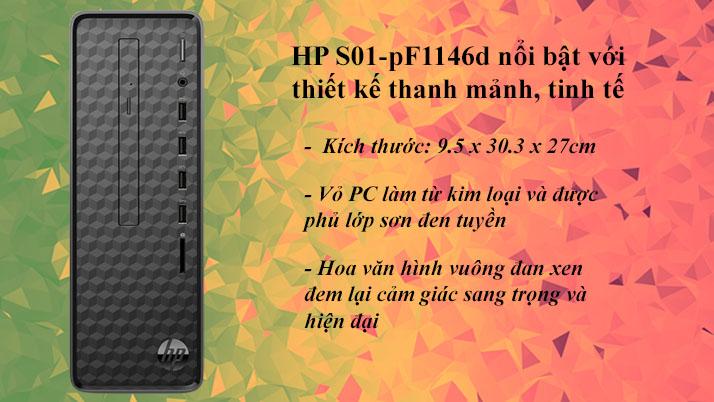 Máy tính để bàn HP S01-pF1146d | Thiết kế thanh mảnh, tinh tế