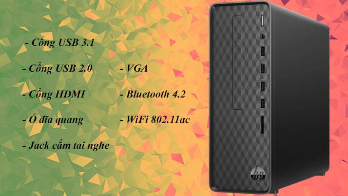 Máy tính để bàn HP S01-pF1146d | Nhiều cổng kết nối tiện lợi