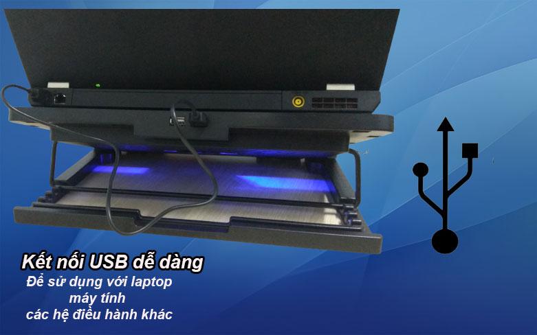 Fan laptop N99 (2 Fan) | Kết nối USB dễ dàng