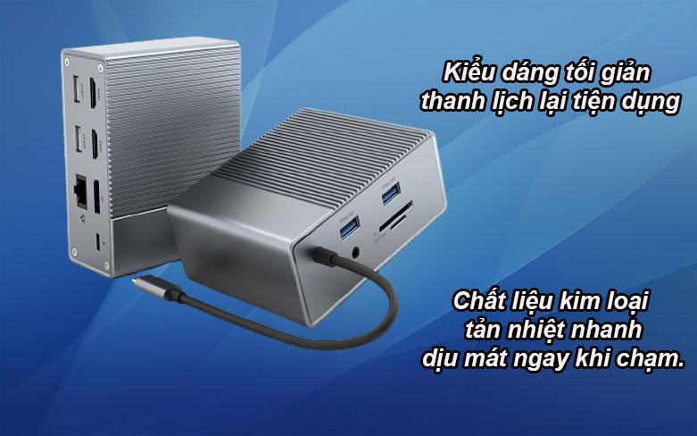 Hub USB-C Gen 2 12 in 1 Hyper Drive HD-G212 | Kiểu dáng thanh lịch tối giản, Chất liệu bằng kim loại
