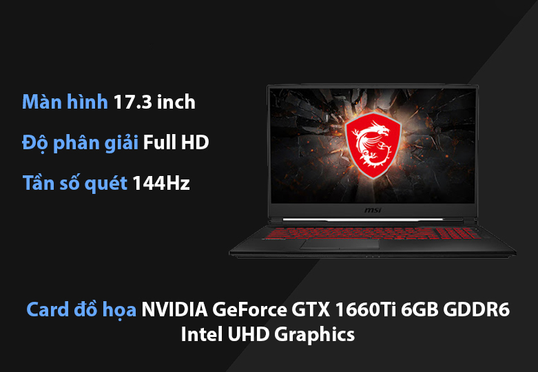 Laptop MSI Leopard GL75 10SDR-495VN | Kích thước màn hình rộng, Card đồ họa