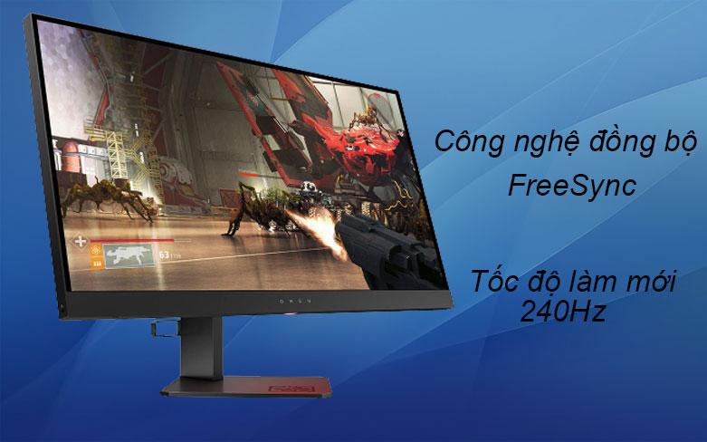 Màn hình LCD HP OMEN 27 inch 6FN08AA   Công nghệ đồng bộ FreeSync, Tốc độ làm mới 240Hz