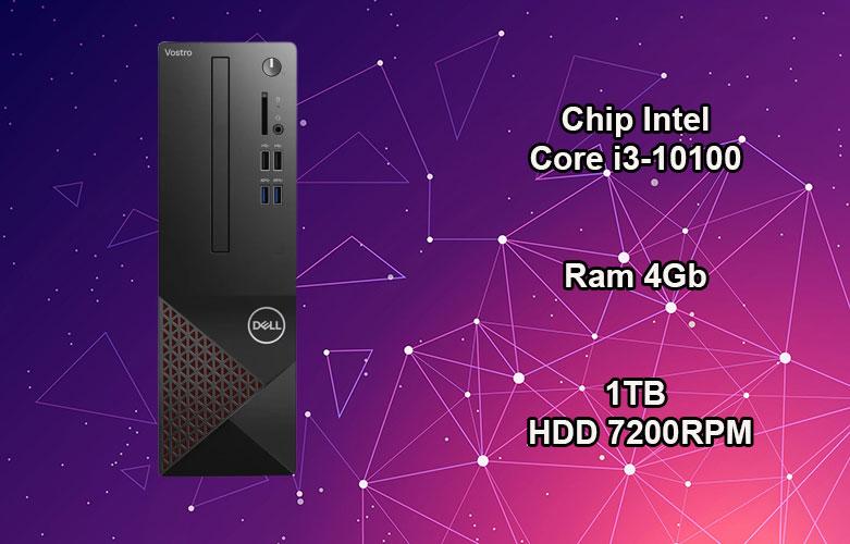PC Dell Vostro 3681 SFF | Chip Intel Core i3-10100, Ram 4GB, bộ nhớ trong 1TB HDD 7200RPM