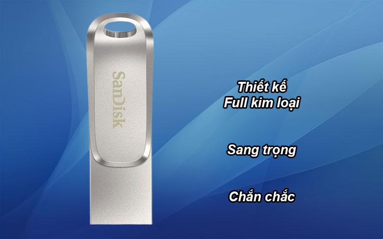 USB 3.1 Sandisk Ultra Dual Drive Luxe 32GB - SDDDC4-032G-G46 | Thiết kế Full kim loại, sang trọng, chắc chắn