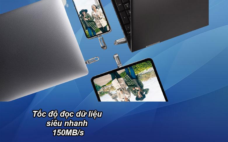 USB 3.1 Sandisk Ultra Dual Drive Luxe 32GB - SDDDC4-032G-G46 | Tốc độ đọc dữ liệu siêu nhanh 150 MB/s