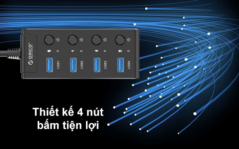 Hub USB 4 ports 3.0 Orico W9PH4 | Thiết kế 4 nút bấm tiện lợi