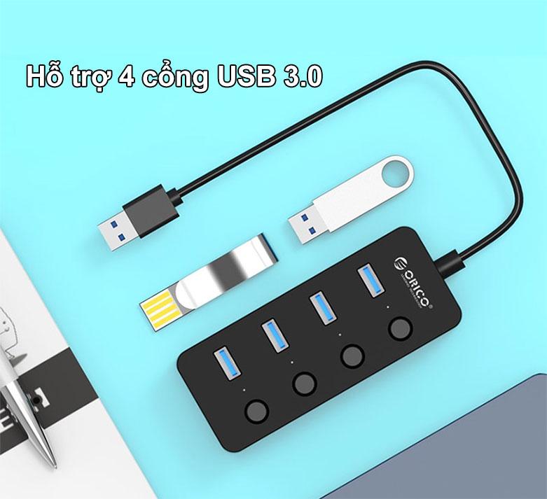 Hub USB 4 ports 3.0 Orico W9PH4 | Hỗ trợ 4 cổng USB 3.0
