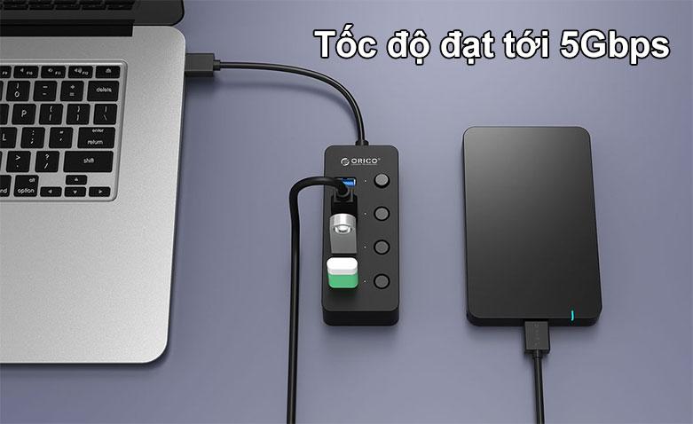 Hub USB 4 ports 3.0 Orico W9PH4 | Tốc độ đạt tơi 5Gbps