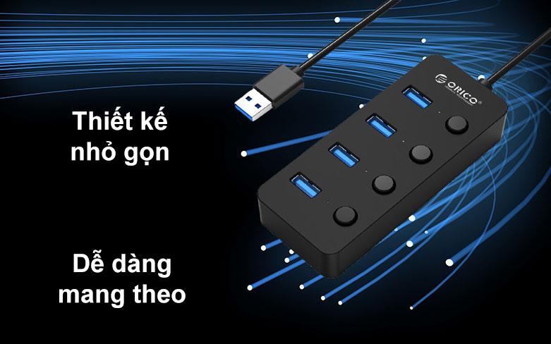 Hub USB 4 ports 3.0 Orico W9PH4 | Thiết kế nhỏ gọn, Dễ dàng mang theo