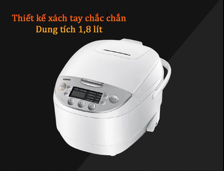 Nồi cơm điện tử Toshiba 1.8 lít RC-18DH2PV(W) | Thiết kế xách tay chắc chắn, Dung tích 1,8lít