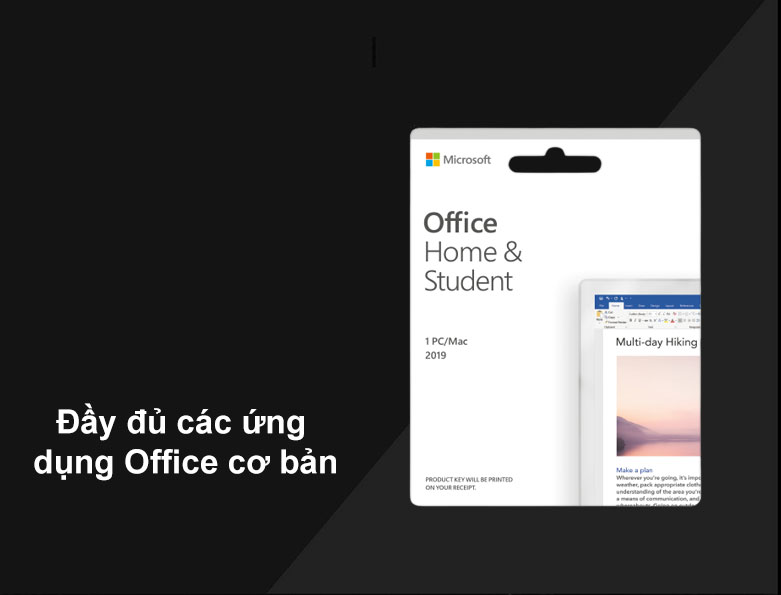 Phần mềm Office Home and Student 2019 English APAC EM Medialess P6   Đầy đủ các ứng dụng Office